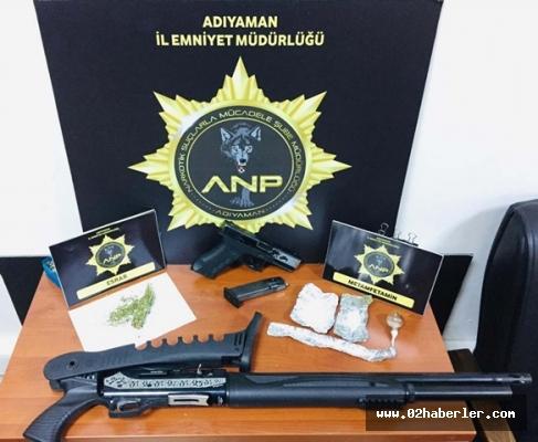 Adıyaman'da Uyuşturucu Madde İle Ruhsatsız Silah Ele Geçirildi