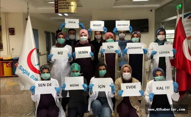 Sincik'de Sağlık Çalışanlarından Anlamlı Mesaj