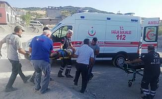Taş öğütme makinesine düşen işçiler yaralandı