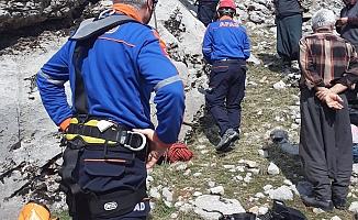 Uçuruma Yuvarlanan Keçiyi Afad ekipleri kurtardı