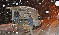 Gölbaşı'nda kar temizleme ve tuzlama çalışması