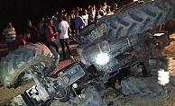 Kahta'da Traktör Devrildi